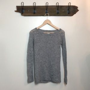 Abercrombie Sweater Grey Gray Open Weave